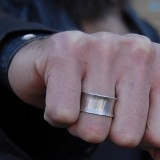Sterling hammered and flared ring