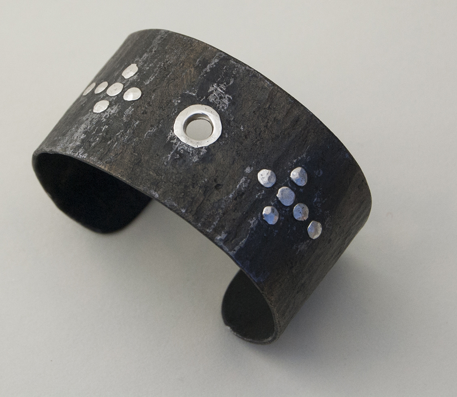 Custom Steel Cuff with Sterling Rivets